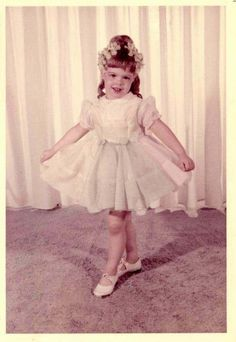 Precious little girl in ruffles and flowers Stage Dance 50s/60s photo