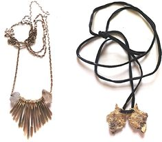 Love the rough edges of these necklaces.