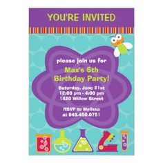 Science Birthday Party Invitations Scientist Birthday Party Invitation