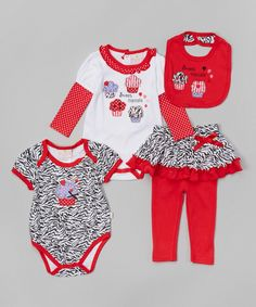 Loving this Duck Duck Goose Red & Black Cupcake Bodysuit Set - Infant on #zulily! #zulilyfinds