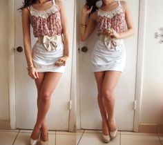 Top: white and floral tank / Bottom: white bodycon skirt / Shoes: nude heels / Misc: bow belt