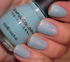 Cinderella by Sinful Colors: Beautiful baby blue base with pink-purple micro shimmer. NEW $1.00