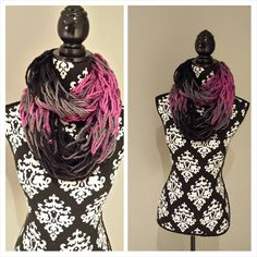 Items similar to Infinity Scarf - double wrap circle scarf chunky textured loose knit black, grey and fuchsia. on Etsy Circle Scarf, Infinity, Dreadlocks, Trending Outfits, Knitting, Unique Jewelry, Handmade Gifts, Grey, Hair Styles