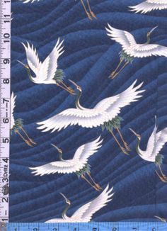 White Cranes fabric