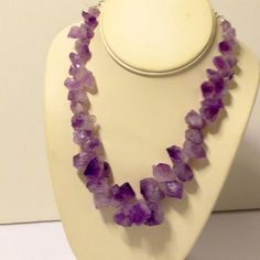 natural chunky amethyst necklace  Handmade piece by me - natural Amethyst chunks make this piece unique and amazing!!!!  Not as heavy to wear as you would think either!  Great gift! gabriella designs  Jewelry Necklaces