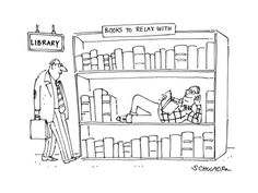 library cartoon, books to relax with