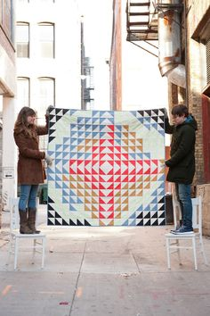 Image of Large Asymmetrical Arrow Quilt - Black, Chambray, Melon, Gold, Red and Cream