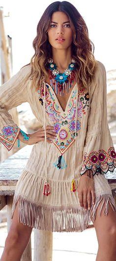 #boho #fashion #spring #outfitideas |Indie boho embellished fringe dress