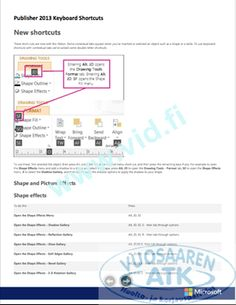Publisher 2013 Keyboard Shortcuts
