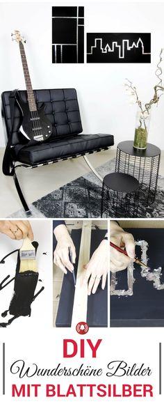 Edler Look auf Leinwänden mit Blattsilber. DIY Schritt für Schritt Anleitung mit Bildern und Video. Einfache Keilrahmen-Leinwände werden mit Blattsilber zum Kunstwerk.