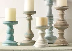 With Waverly Inspirations Chalk, add a touch of shabby chic to these beautiful candlestick holders.