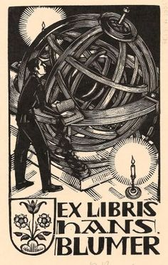 Bookplate Hans Blumer Artist: Paul Boesch, CH (Fribourg 1889-1969 Bern) Woodcut, year unknown