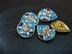 5pc Enamel Buttons handcrafted, Metal button, rhinestone buttons, fancy button, Buttons for Flower Centers - Rhinestone Embellishment Button