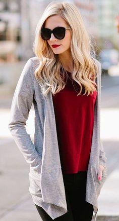 #winter #fashion /  Grey Cardigan + Red Top