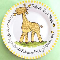Personalised Gift Plate - Giraffe. Christening gift with your own text and choice of plate rim colour. www.bluebellecreate.co.uk