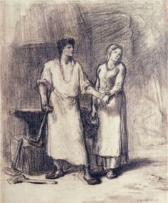 The Blacksmith and His Bride - Jean-Francois Millet