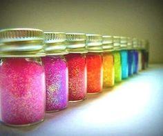 jars of colored glitter