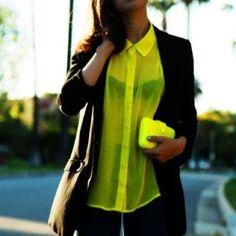 blouse yellow collar see through neon shirt