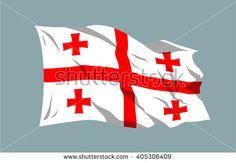 Vector waving national country flag ribbon Georgia Tbilisi Europe - stock vector