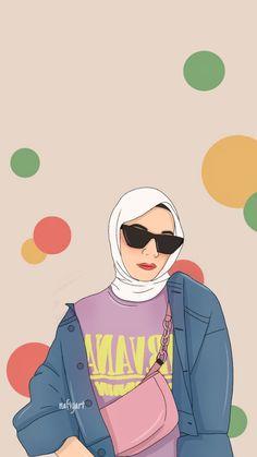 Hijab Drawing, Islamic Cartoon, Screen Wallpaper, Aesthetic Iphone Wallpaper, Digital Illustration, Art Girl, Love Story, Girly, Fan Art