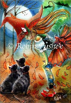 Santa And Fae Medium Design By Beverly Robinson Based On the Original Artwork By Robin Pushee Finished Design Size 230 x 316 9 2W x 12 6H when