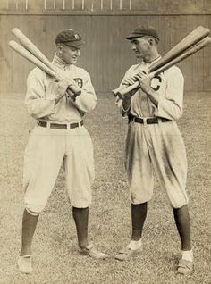 Today's picture was taken in 1913, and it shows two legends of baseball. Ty Cobb is on the left in the Detroit uniform, and Joe Jackson is on the right in the Cubs uniform.