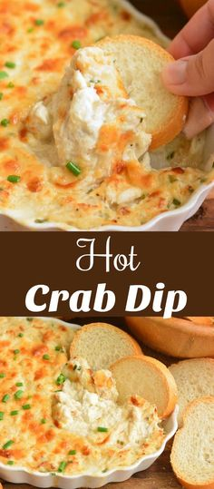 Loved by all & quick & easy to make. This rich and creamy crab dip is made with lump crab meat, cream cheese, Parmesan cheese and baked to perfection. It's a perfect party appetizer and ready in just 30 minutes. Crab Dip Recipes, Easy Appetizer Recipes, Yummy Appetizers, Appetizers For Party, Seafood Recipes, Cooking Recipes, Healthy Dip Recipes, Appetizer Recipes, Sauces