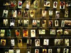 Photographs of victims of Rwanda's 1994 genocide, in which 800,000 people died, are displayed at the Gisozi Genocide Memorial Centre Photograph: Radu Sigheti/Reuters