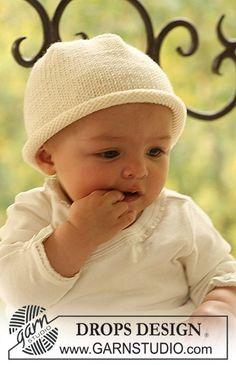 Cute baby hat free knit pattern on Drops