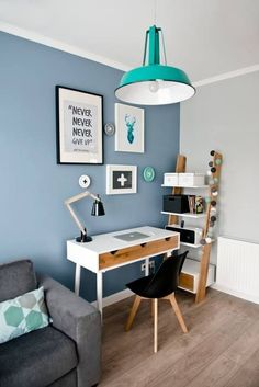 Blue accent wall home office