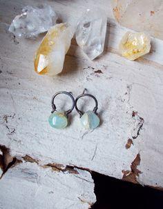 Blue peruvian opal drop post earrings oxidized by CultivatedDreams