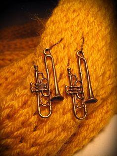 Antiqued Trumpet Earrings - $8