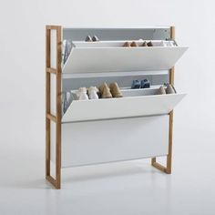 Compo Scandi-Style Shoe Cabinet LA REDOUTE INTERIEURS This Scandinavian style Compo shoe tidy with 3 pull-down doors combines solid oiled oak and white MDF. Shoe Cabinet Design, Shoe Storage Cabinet, Shoe Tidy, Cabinet Boxes, Rack Design, Folding Doors, Hidden Storage, Storage Spaces, Storage Ideas