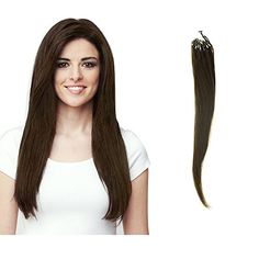 HairExtensionSale Micro Loop 100% Remy Human Hair Extensions Straight 100 Strands Per Pack Medium Brown (16 Inches) ... *** For more information, visit