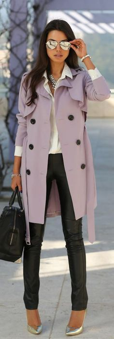 Lavender trench + white button down + leather pants + gold heels