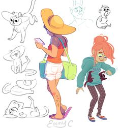 Art by Emmy Cicierega, a storyboardist on Gravity Falls.  I love the use of light and shadows on the girl with the hat.