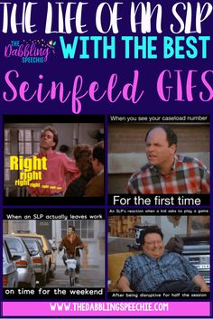 life of an SLP with the best Seinfeld GIFS. Funny post talking about the nuances of being a speech therapist. #speechlife