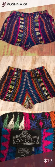 Colorful shorts Like new! Worn only once! Fun bright colors Angie Shorts
