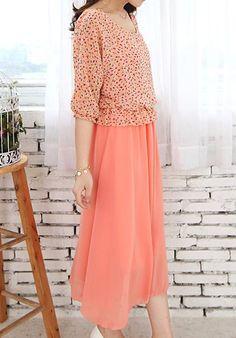 flowing orangepink dress