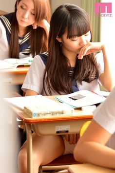 Girls bored in class touching themselves