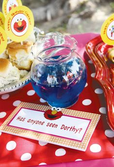 cute sesame street party - jello and swedish fish for dorothy