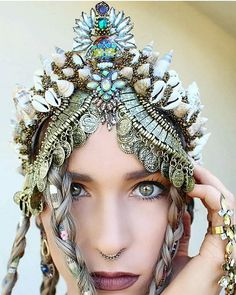 Getting in the spirit of things I loved making this crown (and wearing it even more) . . . . #festivalwear #festivalmakeup #festivallook #art #fashion #crown #mermaid #mermaidcrown #burningman #splendourinthegrass #thirdeye #handmade #moonphases #sunshin