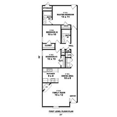 House Plan 81-13857-Long and Narrow by sweet.dreams Shotgun House Plans, Garage House Plans, Barn House Plans, Country House Plans, Modern House Plans, Small House Plans, House Plan With Loft, Narrow Lot House Plans, Bungalow Floor Plans