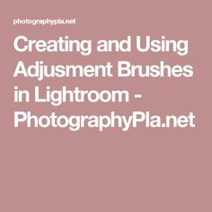 Creating and Using Adjusment Brushes in Lightroom - PhotographyPla.net
