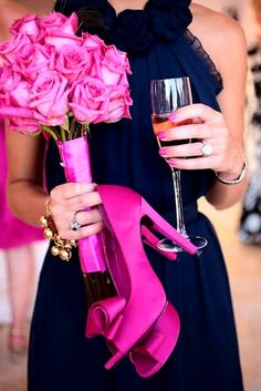 Navy rehearsal dinner dress hot pink fuschia roses & shoes. Love this look! Bride bridesmaid mother of the bride fashion ideas Toni Kami Wedding Hairstyles ♥ ❷ Wedding hairstyle ideas