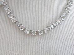 New Sterling Silver Genuine 28ct White Clear Sapphire Tennis Station Necklace #Designer #Tennis #BridalJewelry #WeddingNecklace #BridesNecklace #DiamondNecklace