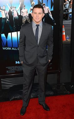 "The star of ""Magic Mike,"" Channing Tatum, cleaned up nicely for the L.A. debut of his new stripper flick. While we can't wait to see him in a whole lot less when the movie opens nationwide this coming weekend, we must admit that he fills out this charcoal gray suit quite well. Jenna Dewan is one lucky lady! (6/24/2012)"