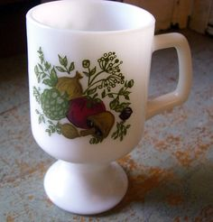 Vintage Vegetable Mug Milk Glass Footed Mug by TheBackShak on Etsy, $6.50