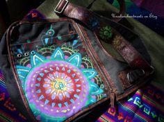 Om Mandala Bag - Bohemian Gypsy Upcycled Canvas Carry All Purse, Large, Rainbow, Hippie, Cross Body Bag, Flower
