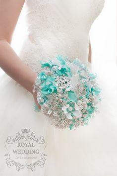 Brooch Bouquet Mint Brooch Bridal Bouquet Mint Wedding Bouquet